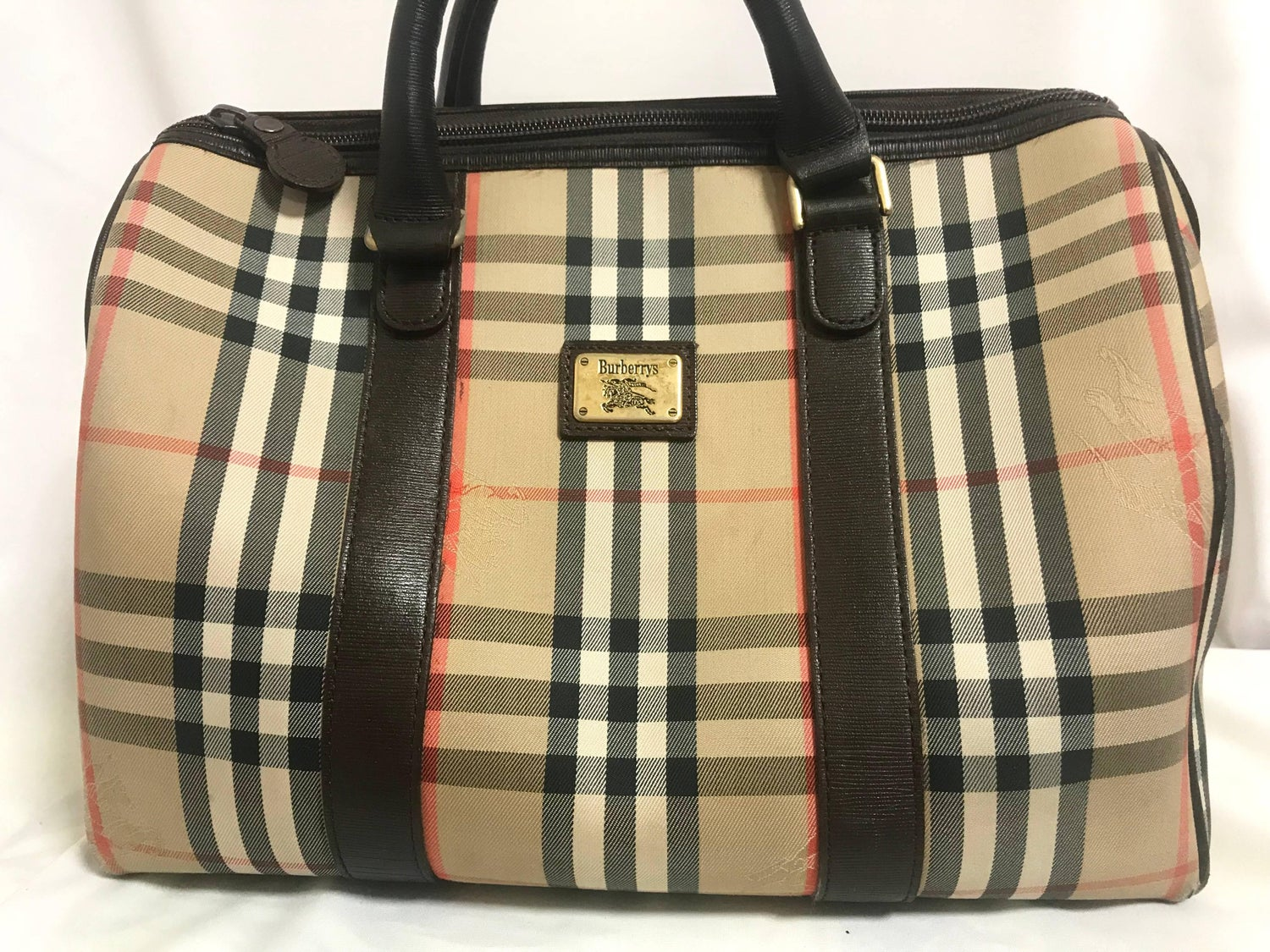 1stdibs Vintage Burberry Classic Beige And Brown Nova Check Handbag. Unisex Purse VJogkTRh