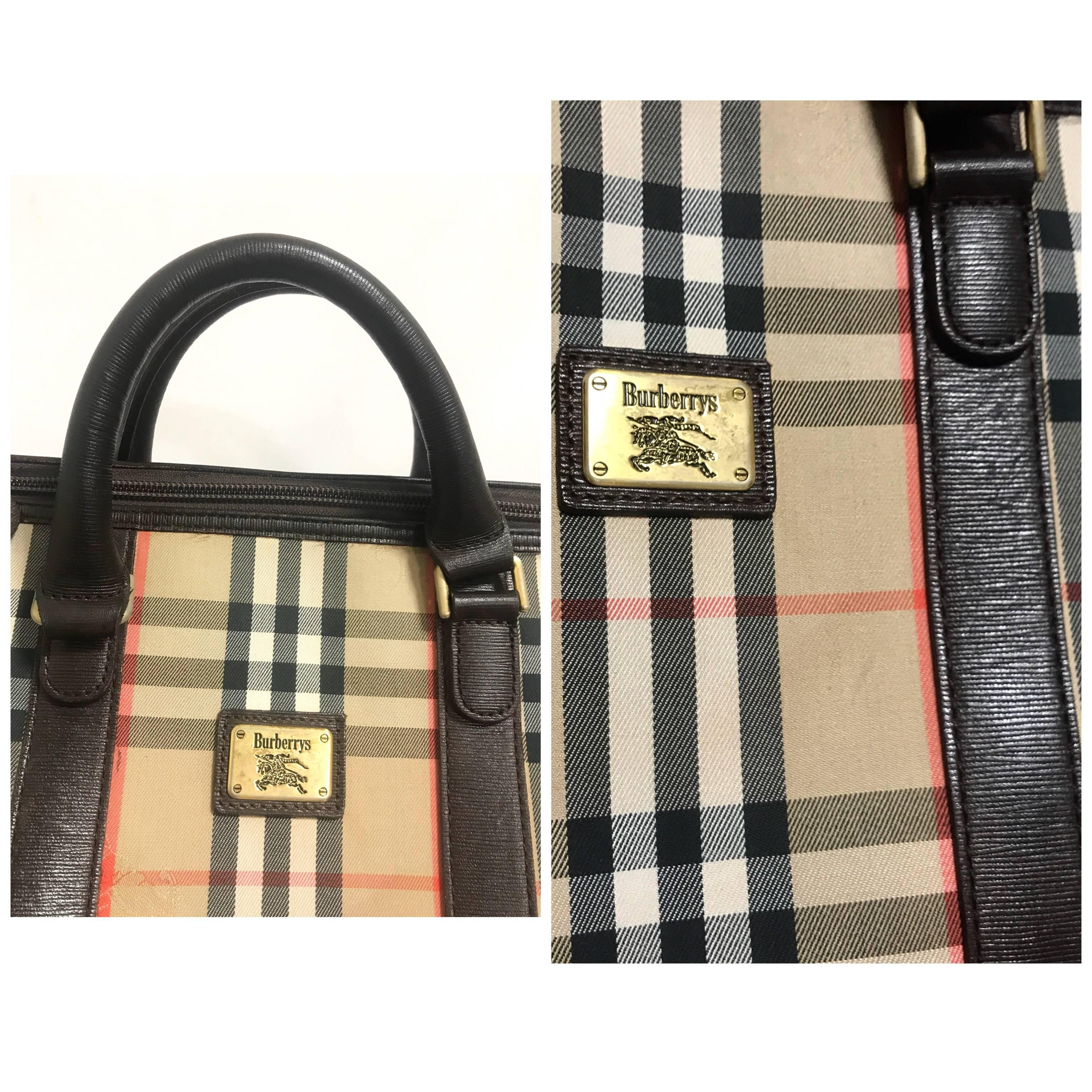 1stdibs Vintage Burberry Classic Beige And Brown Nova Check Handbag. Unisex Purse zHQRsO