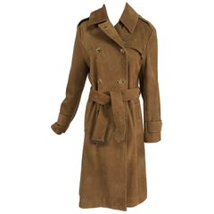 Vintage Burberrys' Hoxton Tobacco Suede Trench Coat 1990s.
