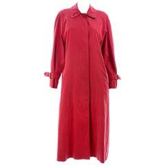 Vintage Burberrys Raspberry Red Raincoat W Haymarket Check Tartan Lining & Belt