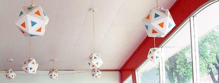 Vintage Burger Chef Icosahedron Glass Globe Lights For Sale 5