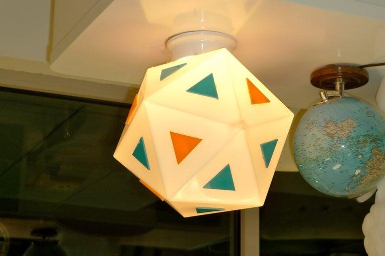 Mid-Century Modern Vintage Burger Chef Icosahedron Glass Globe Lights For Sale