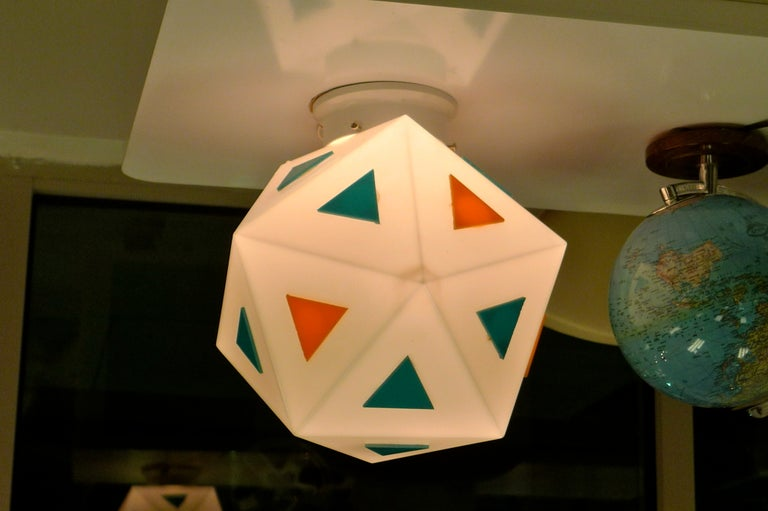 Vintage Burger Chef Icosahedron Glass Globe Lights In Good Condition For Sale In Hingham, MA