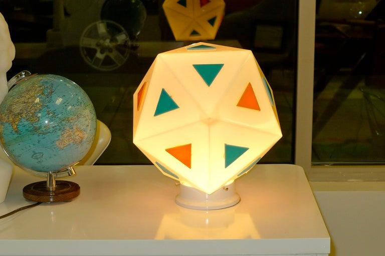 Mid-20th Century Vintage Burger Chef Icosahedron Glass Globe Lights For Sale
