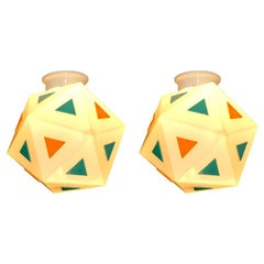 Vintage Burger Chef Icosahedron Glass Globe Lights