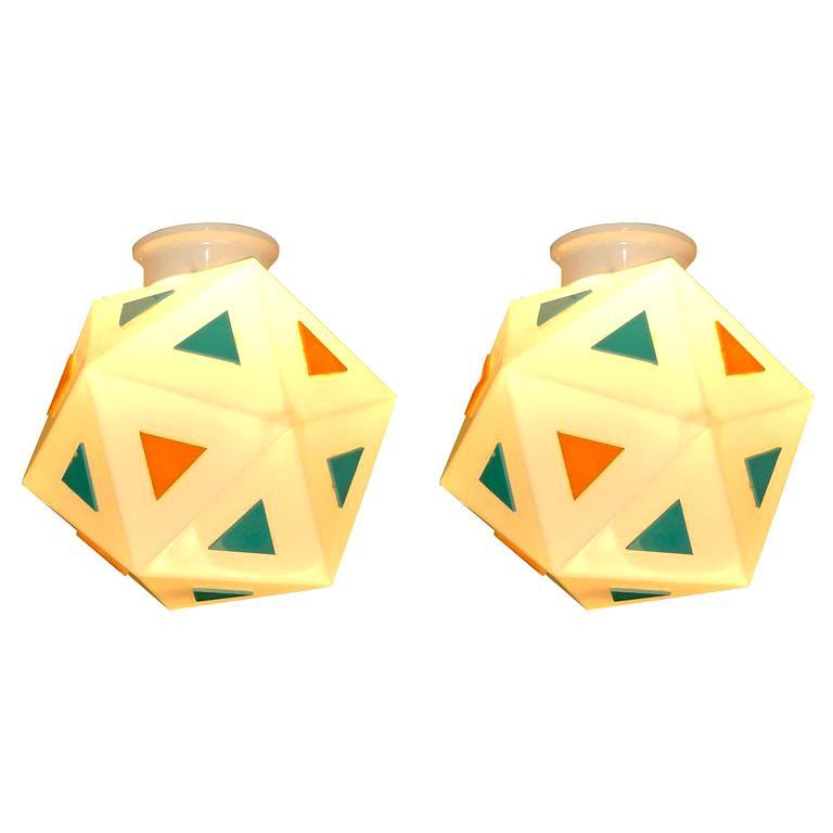 Vintage Burger Chef Icosahedron Glass Globe Lights For Sale