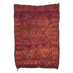 Vintage Burgundy Beni M'Guild Moroccan Rug with Retro Modern Style