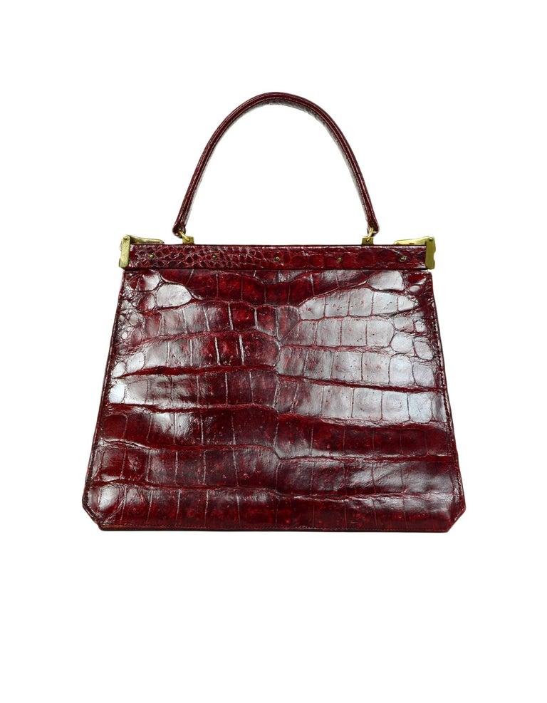 035e32f92e5 Vintage Burgundy Crocodile Frame Top Handle Bag For Sale at 1stdibs