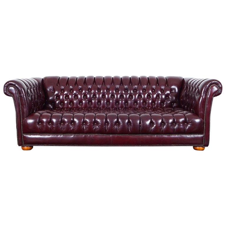 Vintage Burgundy Leather Chesterfield Sofa