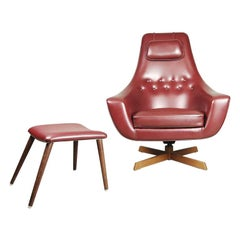 Vintage Burgundy Swedish Egg Chair with Ottoman by S. M. Wincrantz, 1970s