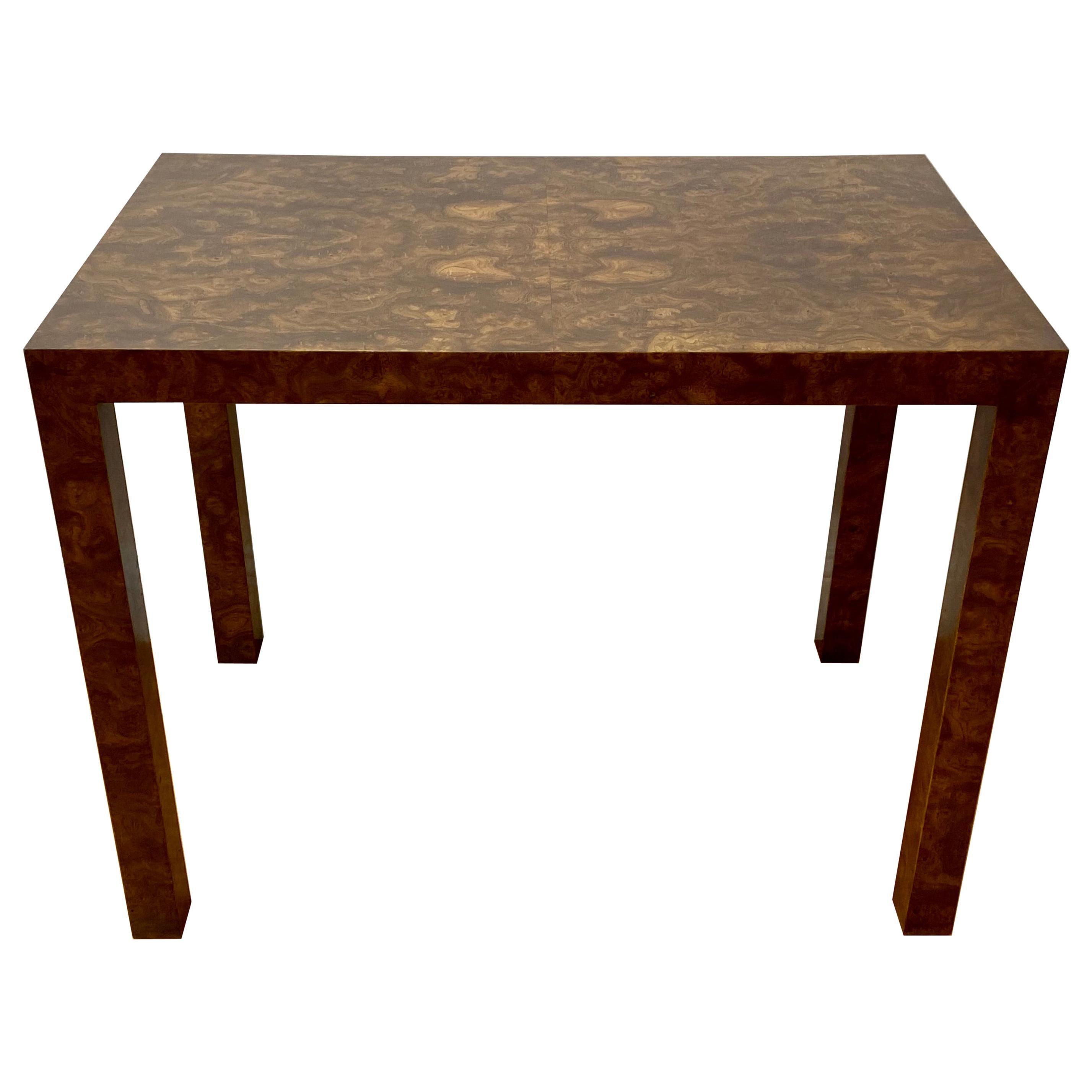 Vintage Burl Walnut Side / Console Table by Milo Baughman, c.1970