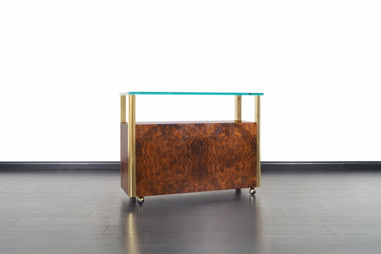 Late 20th Century Vintage Burl Wood and Brass Bar Cart by Century Furniture For Sale