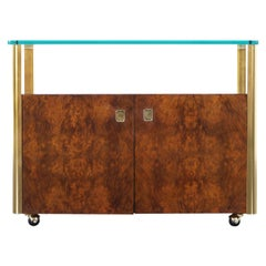 Vintage Burl Wood and Brass Bar Cart by Century Furniture
