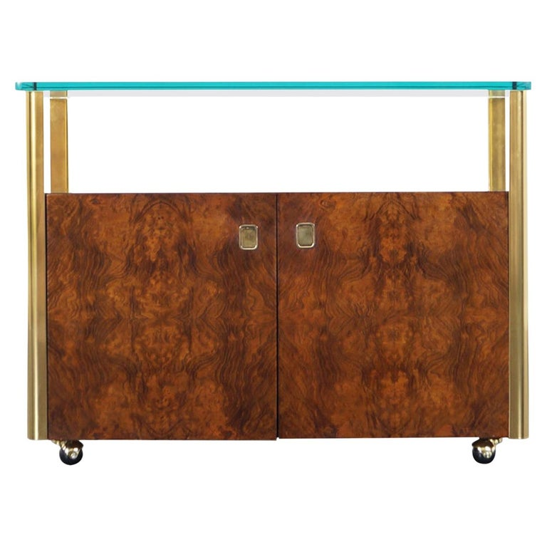 Vintage Burl Wood and Brass Bar Cart by Century Furniture For Sale