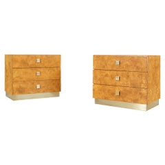 Vintage Burl Wood and Brass Chest of Drawers by Founders