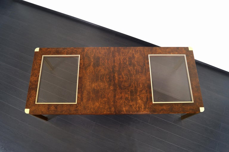 Vintage Burl Wood and Brass Dining Table by Century Furniture 4