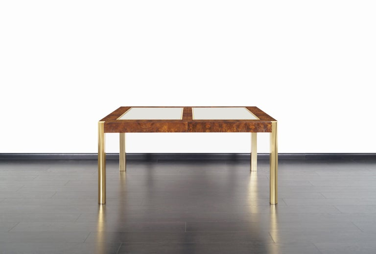 Mid-Century Modern Vintage Burl Wood and Brass Dining Table by Century Furniture