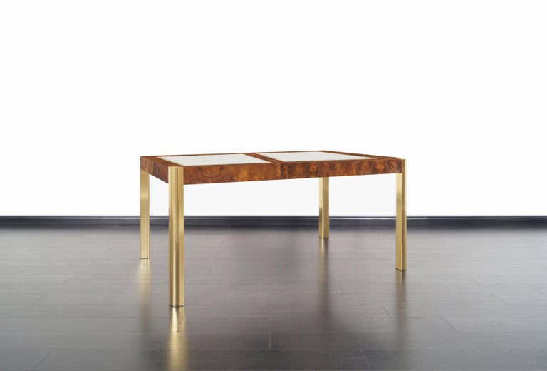 American Vintage Burl Wood and Brass Dining Table by Century Furniture