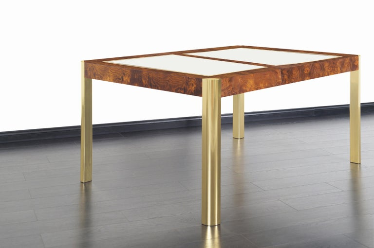 Vintage Burl Wood and Brass Dining Table by Century Furniture In Good Condition For Sale In Burbank, CA