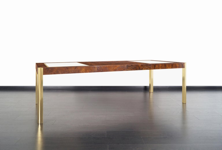 Late 20th Century Vintage Burl Wood and Brass Dining Table by Century Furniture