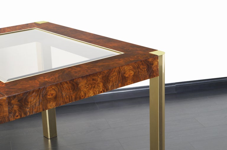 Vintage Burl Wood and Brass Dining Table by Century Furniture For Sale 1