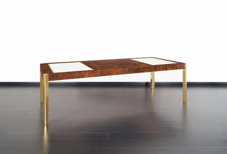 Vintage Burl Wood and Brass Dining Table by Century Furniture 2