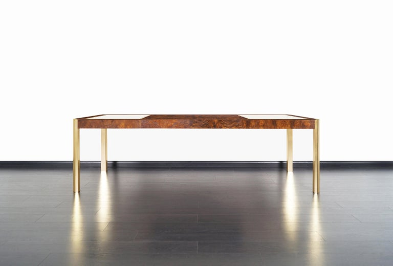 Vintage Burl Wood and Brass Dining Table by Century Furniture 3