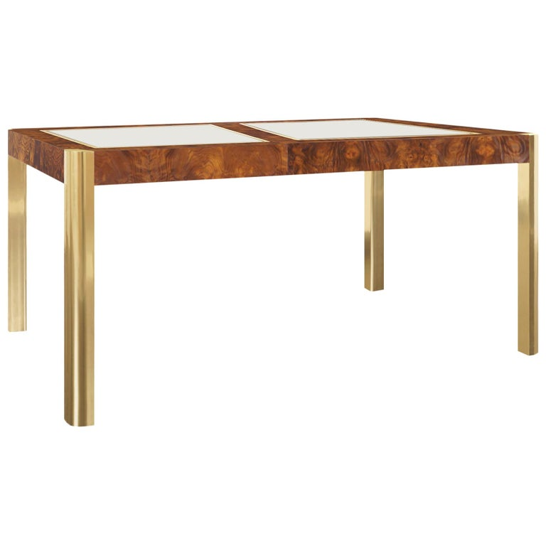 Vintage Burl Wood and Brass Dining Table by Century Furniture For Sale