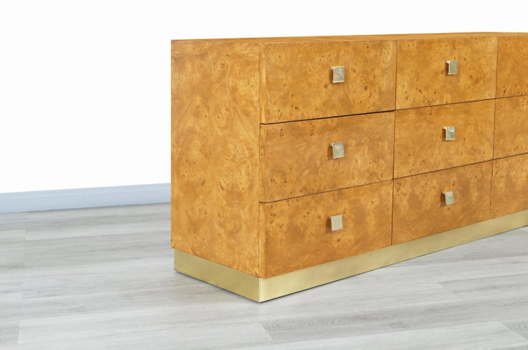 American Vintage Burl Wood and Brass Dresser by Founders For Sale