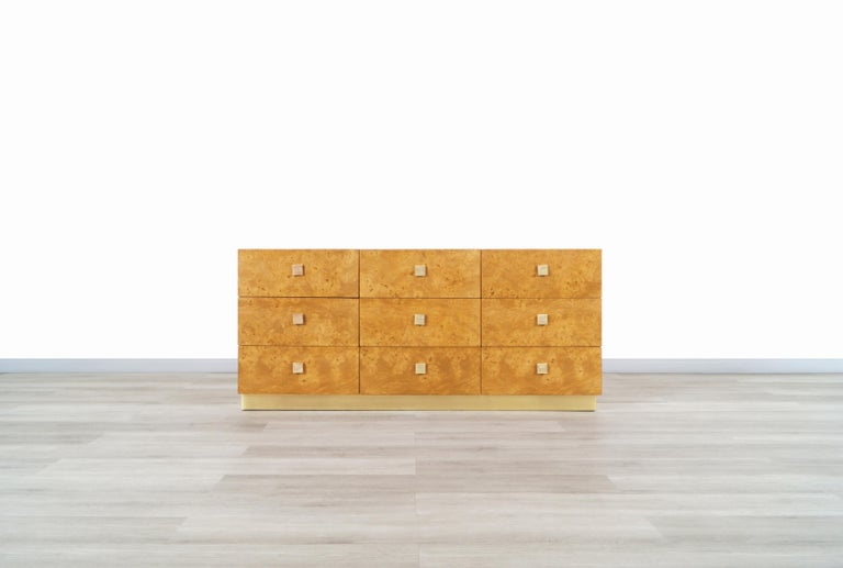 Late 20th Century Vintage Burl Wood and Brass Dresser by Founders For Sale