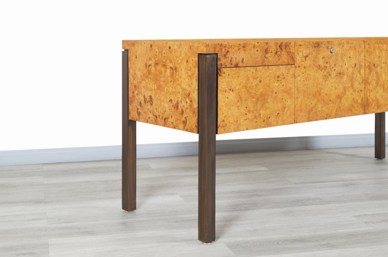 Mid-Century Modern Vintage Burl Wood and Bronze Credenza For Sale