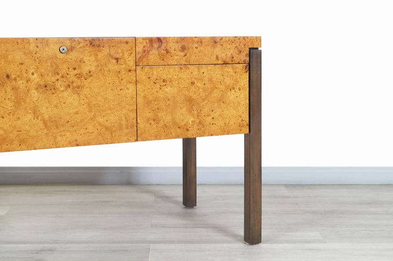 American Vintage Burl Wood and Bronze Credenza For Sale