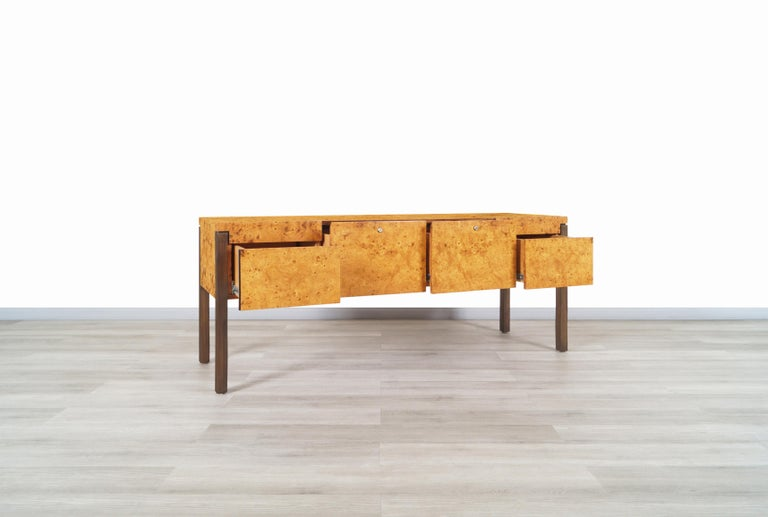 Vintage Burl Wood and Bronze Credenza In Excellent Condition For Sale In Burbank, CA