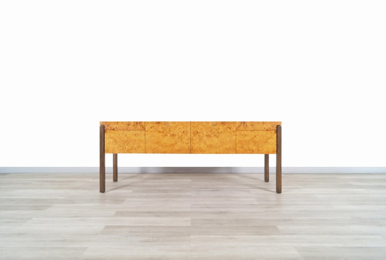 Mid-20th Century Vintage Burl Wood and Bronze Credenza For Sale