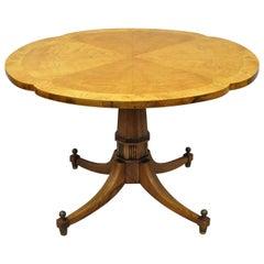 Vintage Burl Wood Clover Top Pedestal Base Regency Coffee Center Table Baker