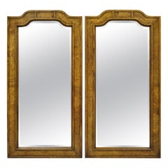 Vintage Burl Wood Mid Century Chinoiserie Pagoda Arched Wall Mirrors, a Pair