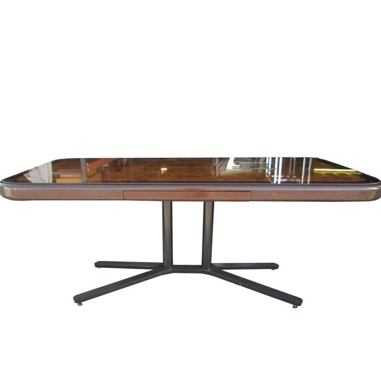 Mid century table or desk with a burled wood top and a bronze base. Pencil drawer.   This piece can work as a table or a desk.