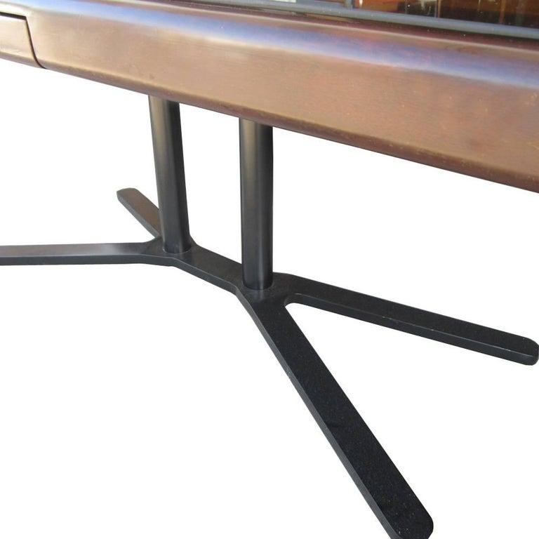 Mid-Century Modern Vintage Helikon Burled Top Desk Table on a Bronze Base For Sale