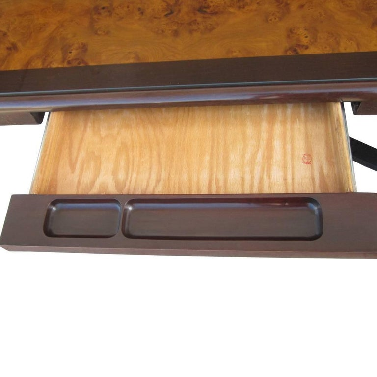 American Vintage Helikon Burled Top Desk Table on a Bronze Base For Sale