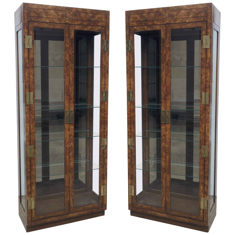Vintage Burled Walnut Wood and Brass Vitrine or Display Cabinets