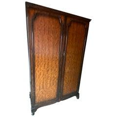 Vintage Burled Wood Two-Door Wardrobe or Armoire