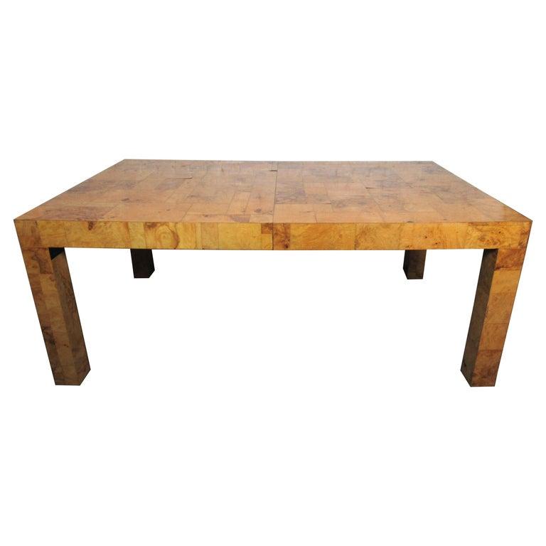 Vintage Burlwood Dining Room Table by Paul Evans For Sale
