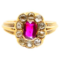 Vintage Burma Ruby and Old Mine Cut Diamond Ring, 18 Karat Yellow Gold