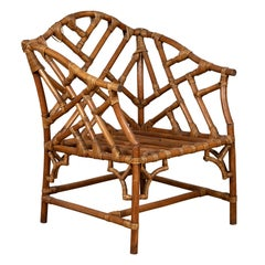 Vintage Burmese Bamboo and Rattan Armchair with Chinese Chippendale Patterns