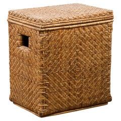 Vintage Burmese Hand-Woven Rattan over Wood Basket Hamper with Pierced Handles