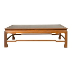 Vintage Burmese Long Coffee Table with Negora Lacquer and Humpback Stretchers