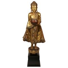 Large Vintage Burmese Mandalay-Style Bejeweled Standing Buddha