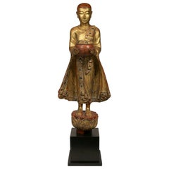 Tall Vintage Burmese Mandalay-Style Bejeweled Buddhist Monk Statue