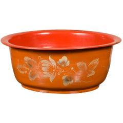Vintage Burmese Orange and Red Lacquered Papier Mâché Bowl with Floral Design