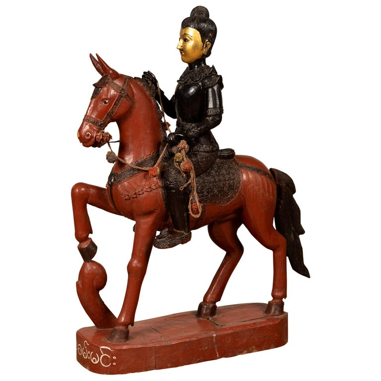 Vintage Burmese Polychrome Carved Wooden Statue Of A Warrior On His Horse